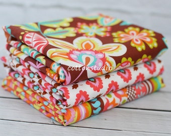 Michael Miller Fabric Fiesta Collection in Chocolate Fat Quarter Bundle Set Elena Evita Esme