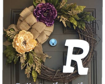 Elegant monogram wreath for front door - Peony wreath with initital - rustic all year wreath,everyday wreath with burlap bow - wreaths