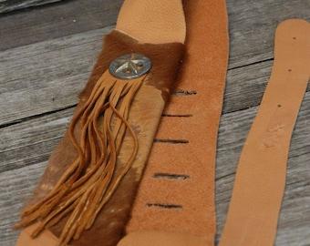 Western Guitar strap -Leather Guitar Strap - Fringed guitar strap - Horse Hair guitar strap