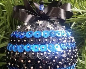 Blue and Black Sequin Christmas Ornament