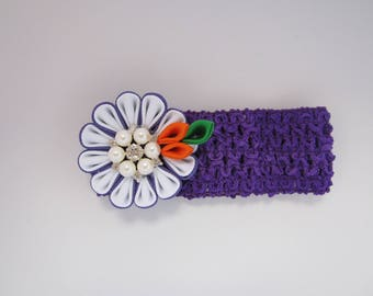 Purple Kanzashi Flower   Chrochet Headband