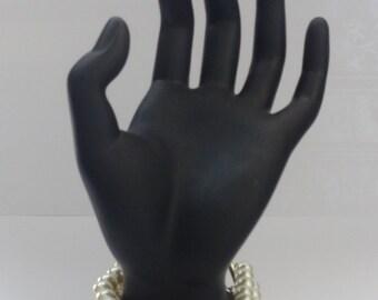 Handmade Faux Ivory Pearls Three Strands Bracelet