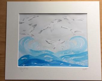 Inspirational quote art, watercolour bird art, original bird art, bird painting, seabird art, bird lovers gift