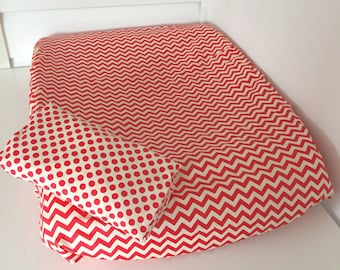 SALE 2x Change pad covers - Red Chevron and Dots - Universal Fit (80x50cm)