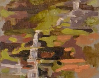 waterfall original landscape painting plein air 6x8 ricketts glenn pennsylvania landscape