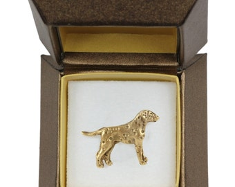 NEW, Dalmatian, dog pin, in casket, gold plated, limited edition, ArtDog