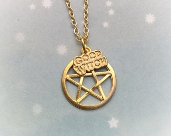 Gold Pentacle Good Witch necklace, in gold or silver tone