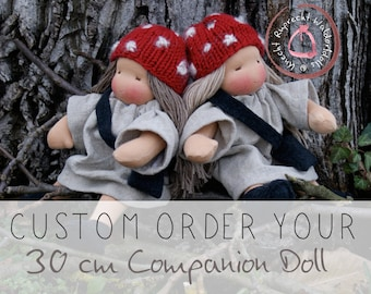 Reserved for Dorothee - Custom Order - Waldorf Doll - Personal Companion Doll 30 cm / 12 inch - Companion Doll according to waldorf pedagogy