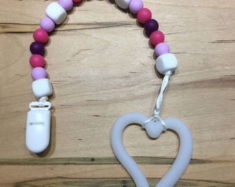 White Heart Silicone Bead Baby Teether /  Teething Toy / Baby Toy / Silicone Bead Teether
