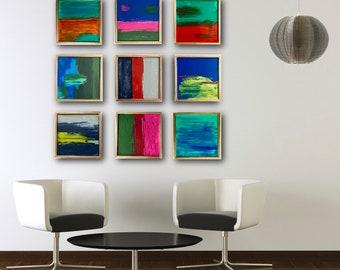 Original Painted Wood Block Wall Art -Abstract Painting Modern Wall Sculpture - Commercial Art Installation -Large Art 3D
