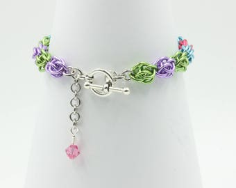 Sweet Pea chain mail chainmaille bracelet