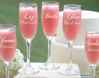 8 Personalized Bridesmaid Gifts, Champagne Flutes, Asking Bridesmaids, Champagne Glasses Bridesmaid Proposal, Champagne Toast, Wedding Party