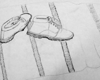 Still life Pencil Drawing of Winter Hiking Boots 14x11 Print