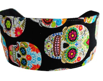 Bargain Headbands, Multicolor Skulls and Flowers, Day of the Dead Wide Headband