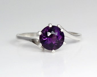 Sterling Silver African Amethyst Ring / Natural Amethyst Ring Silver February Birthstone