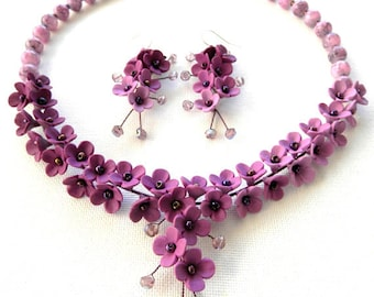 Wedding Jewelry, Flower Jewelry, Violet Jewelry Set, Romantic Jewelry, Statement Necklace, Flower Earrings, Gift For Her, Floral Fashion