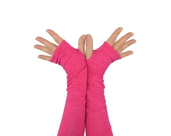 Arm Warmers in Bright Fuchsia - Hot Pink - Fingerless Gloves - Sleeves