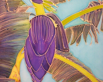 Hand Painted Silk Wall Hanging 16x20 - BANANAS!, Housewarming, Birthday, Mother's Day, Father's Day