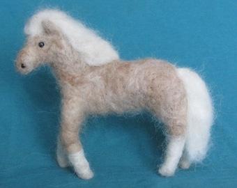Beige Palamino Pony  needle felted