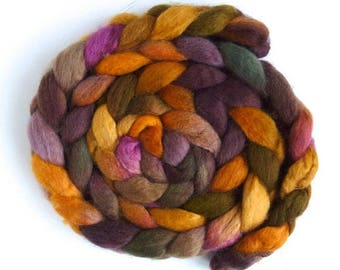 BFL Wool Roving - Hand Painted Spinning or Felting Fiber, Weathered
