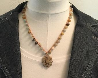 Boho Unique Crocheted Amazonite and Bronze Sheild Necklace