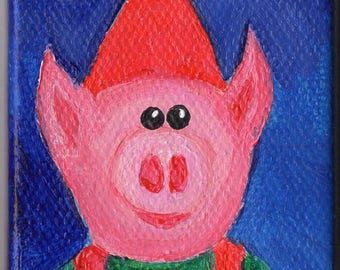 Pig Elf Painting, Christmas Mini Canvas Art, Easel, Christmas Holiday Decor, Pig artwork, mini acrylic painting canvas art  2 x 3