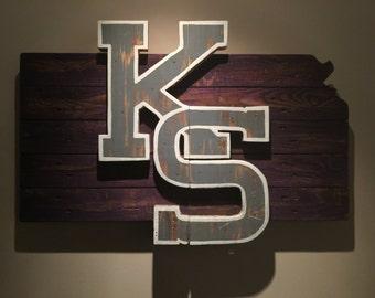 Wooden State of Kansas with Kansas State logo