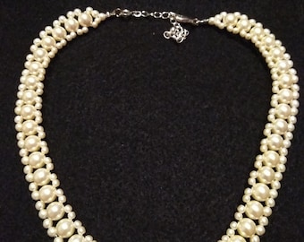 Triple Strand Pearl Short Necklace