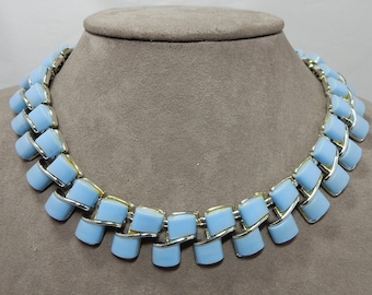 CORO Signed Blue Thermoset Choker Necklace    PAZ28