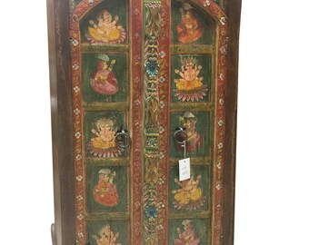 Antique Armoire Ganesha Hand Painted Cabinet Hand Carved UNIQ Indian Decor Rustic FARMHOUSE CHIC