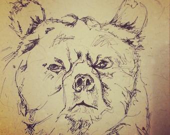 Sombre Bear Postcard