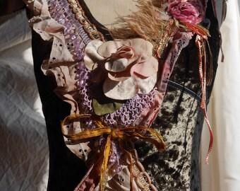 """Dress """"French Seduction"""", velvet tip, Art to wear, Unique and feminine, Boho dress, velvet dress"""