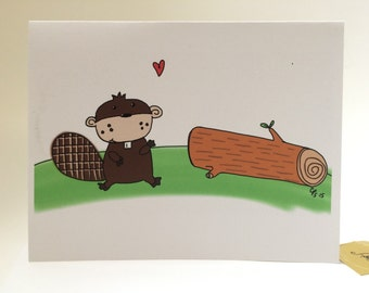 Naughty Card, I Like Your Wood, Beaver card, snarky sexy, inappropriate card, made on recycled paper, comes with envelope and seal
