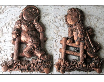 Raggedy Ann and Andy Coppercraft Guild Wall Hangings Plaque Set Copper Craft