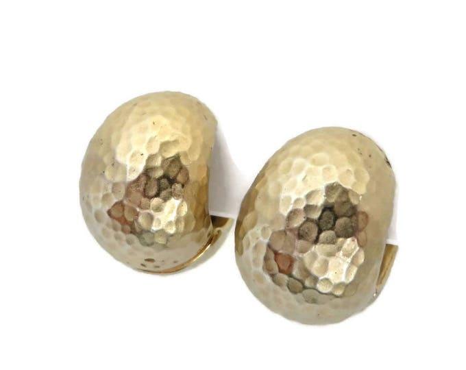 Erwin Pearl Earrings, Vintage Hoops, Hammered Earrings, Reversible Hoop Earrings, Shiny Hoops, Hammered Hoops, Clip Back Earrings, Gift Idea