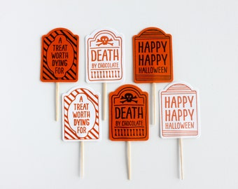 Halloween Cupcake Toppers / Gravestone Cupcake Toppers /Tombstone Cupcake Toppers / Death By Chocolate / Halloween Party / Halloween Decor