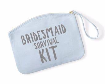 Bridesmaid Survival Kit Funny Bride Wristlet Bag Make Up Bag Wedding Cosmetic