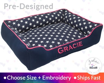 Navy Blue & Pink Stars Dog Bed or Cat Bed - Star, Personalized, Hot Pink, Name Embroidery | Washable and High Quality - Ships Fast!