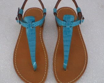 Iuzza Women's thong sandals, real leather and real leather, handmade 100% made in Italy. Aquamarine