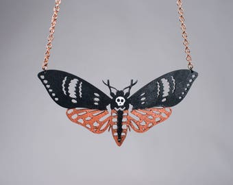 "Black and copper ""DEATH MOTH"" necklace"