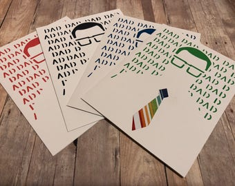 Handmade Happy Father's Dad Greeting Card; Hipster Dad Father's Day Card