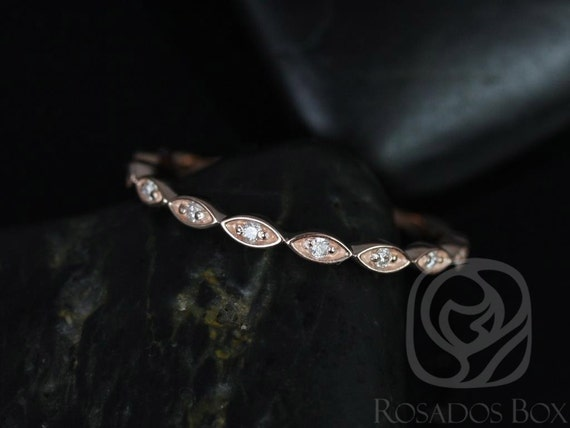Rosados Box Ultra Petite Leah 14kt Rose Gold Vintage WITHOUT Milgrain Diamond ALMOST Eternity Band