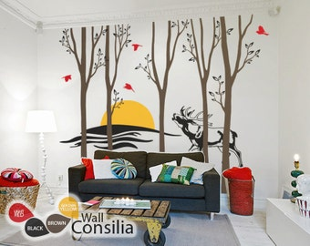 """Trees and Deer Wall Decal - Sunset Wall Decal - Wall Sticker - Tree Decals - Large: approx 95"""" x 116"""" - KC007"""