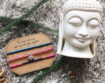 Silver Elephant Beaded Bracelet, Beaded bracelet, Beach bracelet, Charm bracelet, Boho bracelet, Friendship bracelet, Handmade bracelet