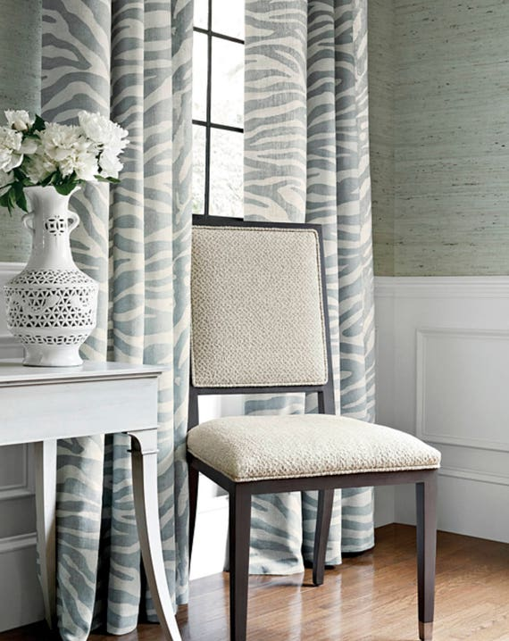 blue gray curtains thibaut zebra print serengeti roman shade. Black Bedroom Furniture Sets. Home Design Ideas