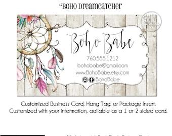 "Dreamcatcher Business Cards - ""Boho Dreamcatcher"", Dreamcatcher Hang Tag, Business Card, Boho Boutique, Business Card Template"