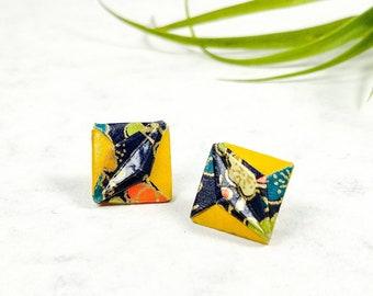 Boucles d'oreilles jaune moutarde | Bijou en papier  | Boucles d'oreilles minimalistes | Origami par Ökibo