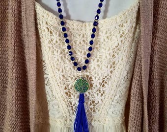 Cobalt Blue Glass Beaded Necklace w/ Fern Tassel