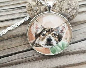 Pet portrait wearable art. Your pet in watercolor as a necklace, ornament, ring, key chain or brooch. Portion of proceeds donated to shelter