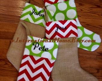Burlap Christmas Stocking - Trendy - Chevron Dot - Personalized